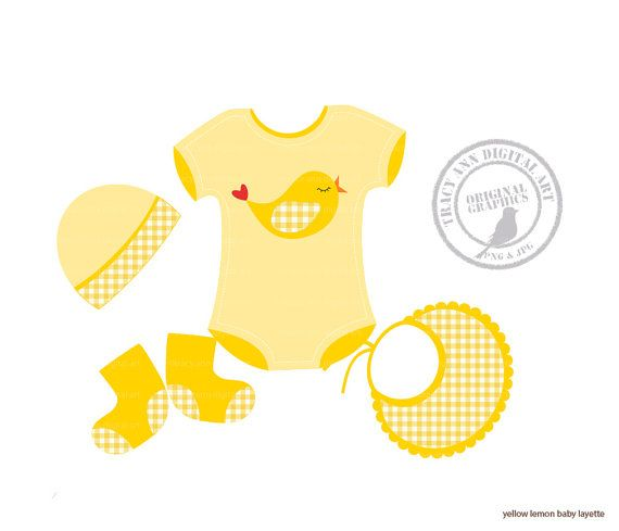 Lemon baby girl layette clip art set 1 by tracyanndigitalart