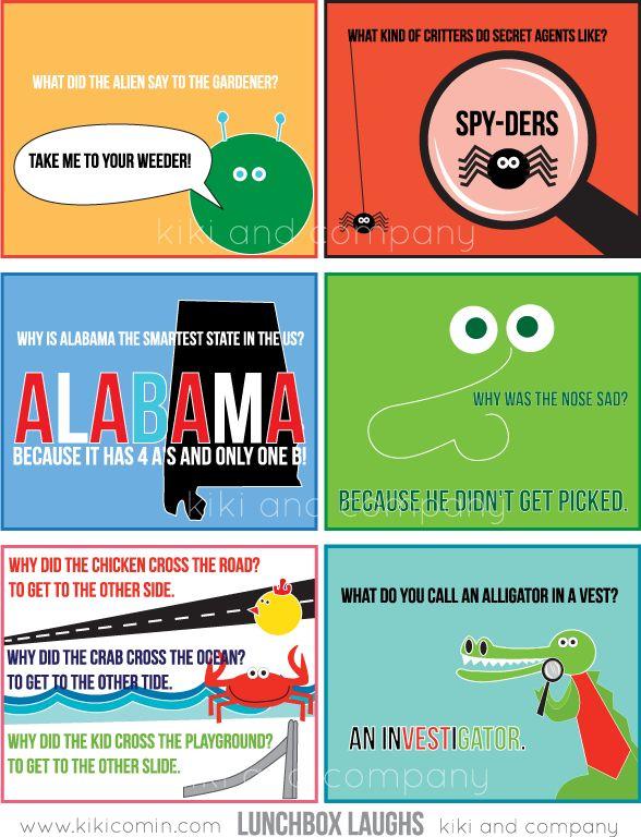 Free Lunchbox Laughs at Kiki and Company #backtoschool #free #printable