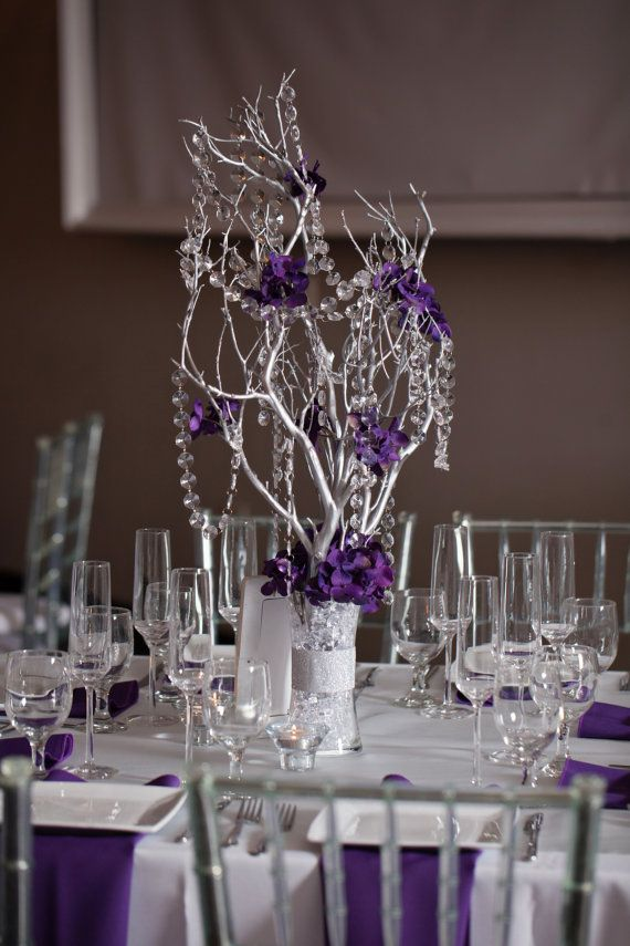 Branch Centerpieces For Weddings With Crystals : Crystal manzanita silver branch tree centerpieces