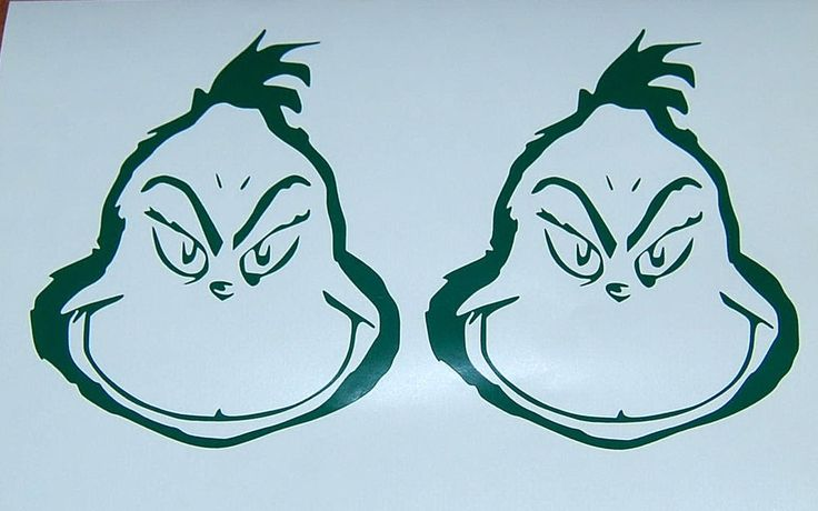 2x grinch face green vinyl decal christmas stickers new