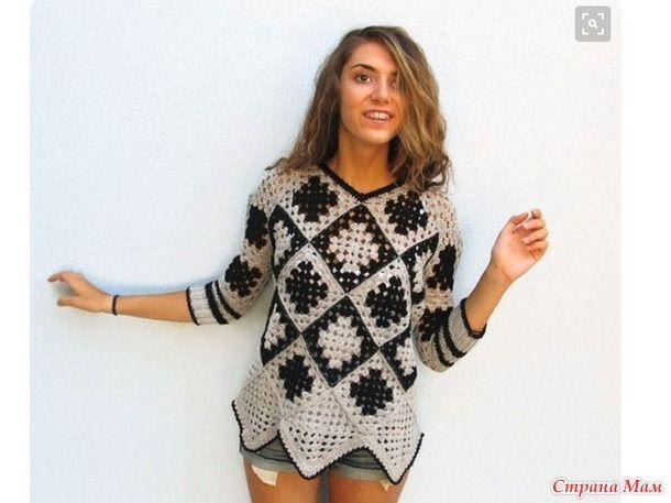 Пуловер с цветными мотивами