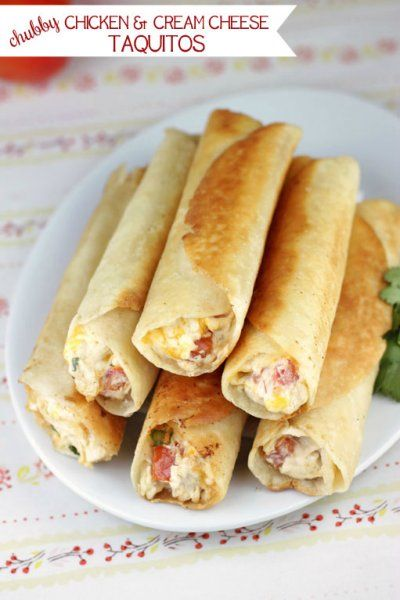 Chicken and Cream Cheese Chubby Taquitos by Cinnamon Spice and ...