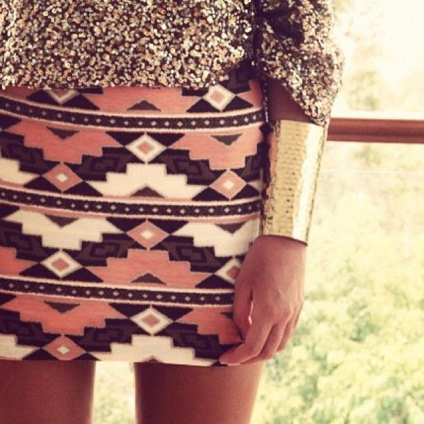 Gold / B&W fabric /Aztec