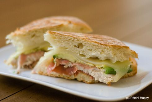 Prosciutto-Wrapped Turkey, Avocado & Swiss Panini via Panini Happy ...