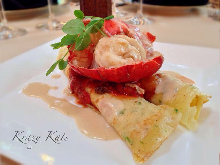Butter Poached Lobster ~ three cheese crépe manicotti, tomato compote ...
