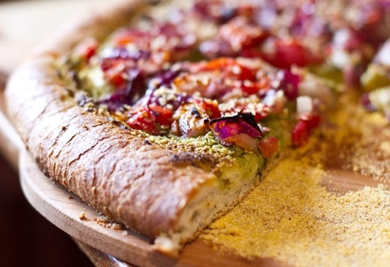 Roasted Tomato, Onion, And Basil Pesto Pizza With Vegan ...