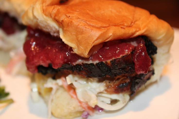 hot pepper jelly-cranberry-mustard pork & slaw sliders.....perfect ...