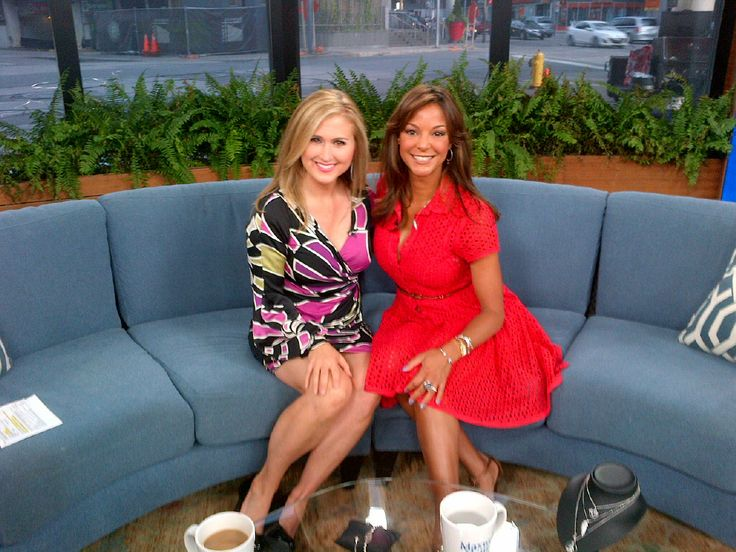 Eva la rue on set of bt toronto with jennifer valentyne promoting her