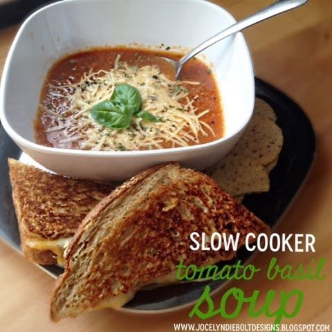 Slow Cooker Tomato Basil Soup | Food ideas | Pinterest