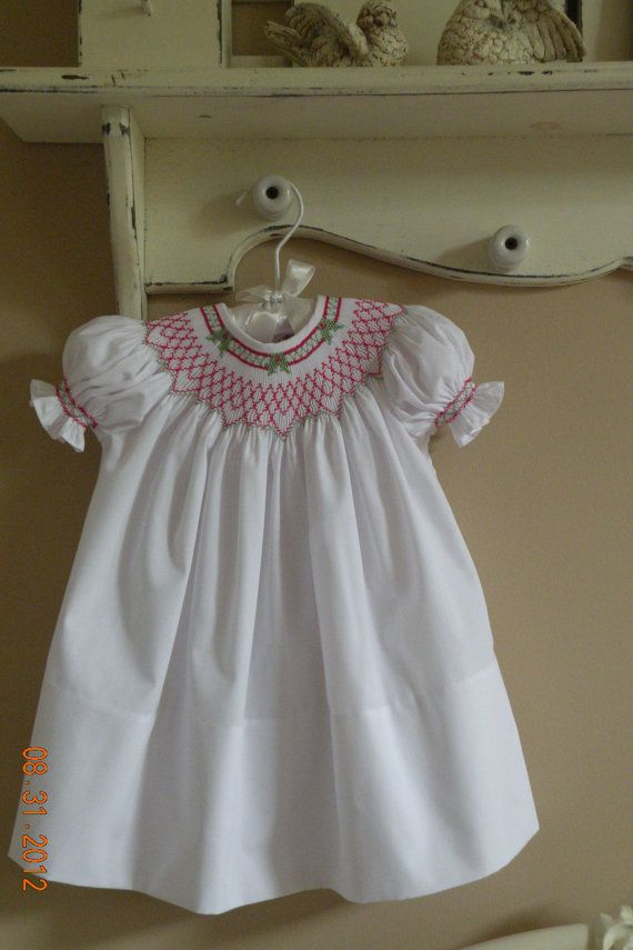Hand smocked christmas dress by thesmockinggarden on etsy 49 99
