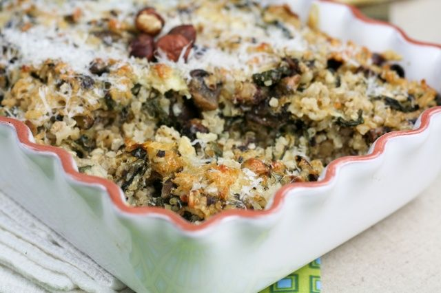Mushroom Spinach and Brown Rice Casserole-Made this on 4/2/12. This ...