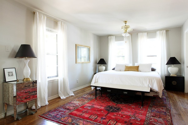 black lampshades and oriental rug bedroom pinterest