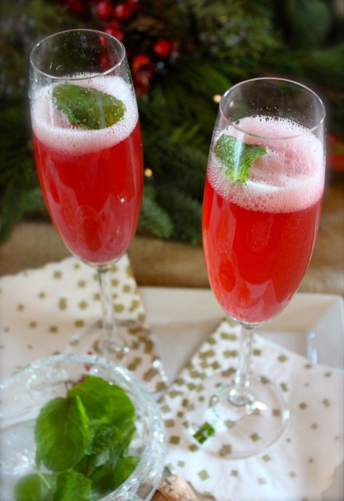 Christmas cocktail, champagne and sorbet...yum!