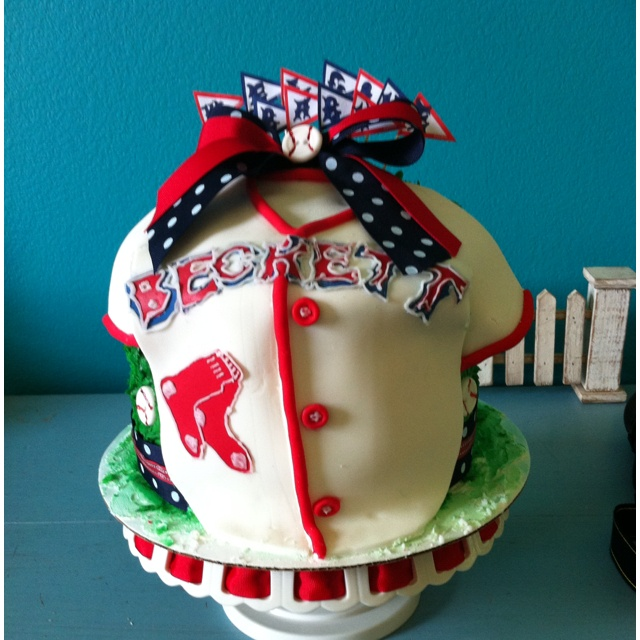 Boston Red Sox baby shower cake.