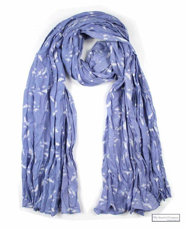 Dusk blue bird print crinkle scarf @ The Nautical Company