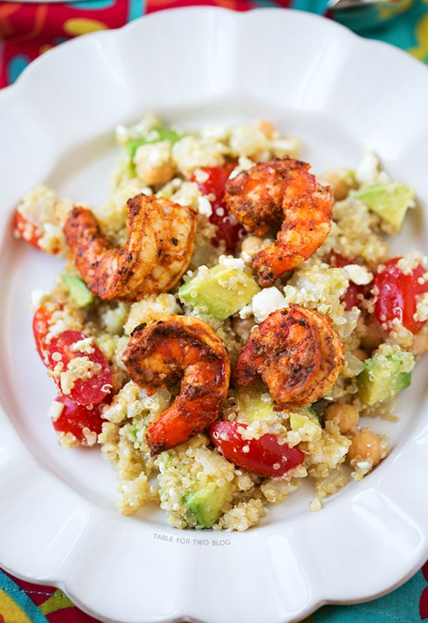 ... cold! Spicy Grilled Shrimp with Quinoa Salad | tablefortwoblog.com