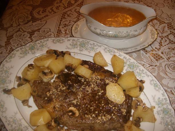 Beef Rib-Eye Roast With Potatoes, Mushrooms And Pan Gravy Recipe ...