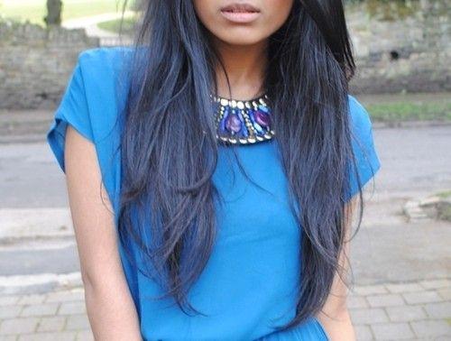 Blue Black Hair + Blue Dress | Nails, Hair, and Makeup | Pinterest