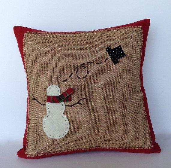 Decorative Christmas Pillows Throws : Snowman Christmas Pillow cover, holiday pillow, decorative pillow, cu?