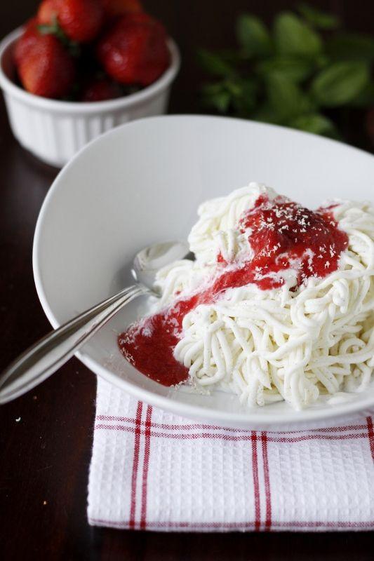Spaghetti Gelato, the most glorious creamy vanilla gelato topped with ...