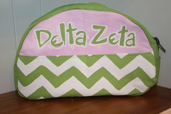 Delta zeta sorority makeup bag free by twizzlestitches on etsy 15 99