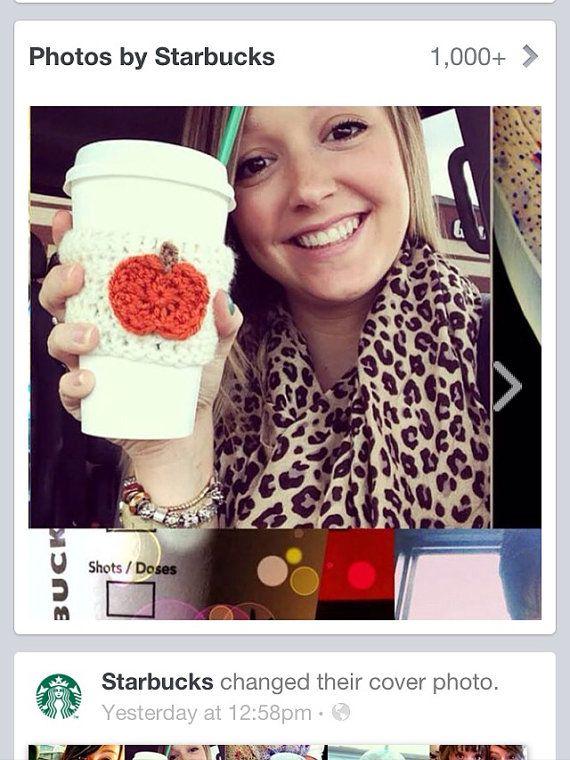 Crochet Pumpkin Coffee Cozy White & Orange Pumpkin Spice on Etsy, $6 ...