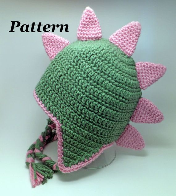 PATTERN: Crochet Earflap Dinosaur or Dragon Hat, Crochet ...