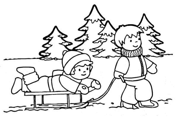 Раскраски дети катаются на санках