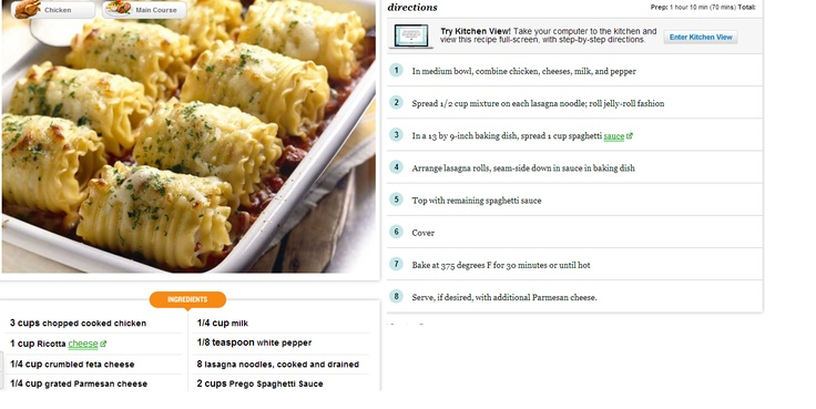 Chicken& Cheese Lasagna Roll-Ups | Get in my belly! | Pinterest
