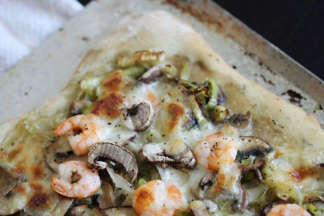 Shrimp, Mushroom, and Leek Pizza