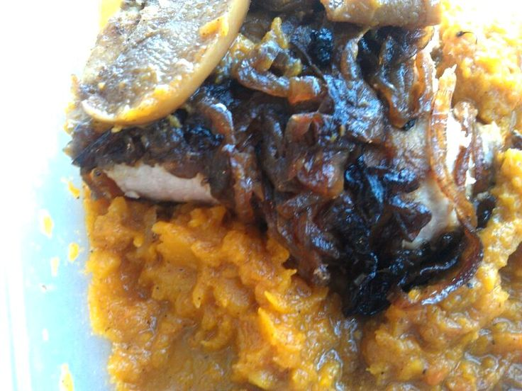 Apple Onion Cinnamon Pork Chops over Crockpot Butternut Squash | Reci ...