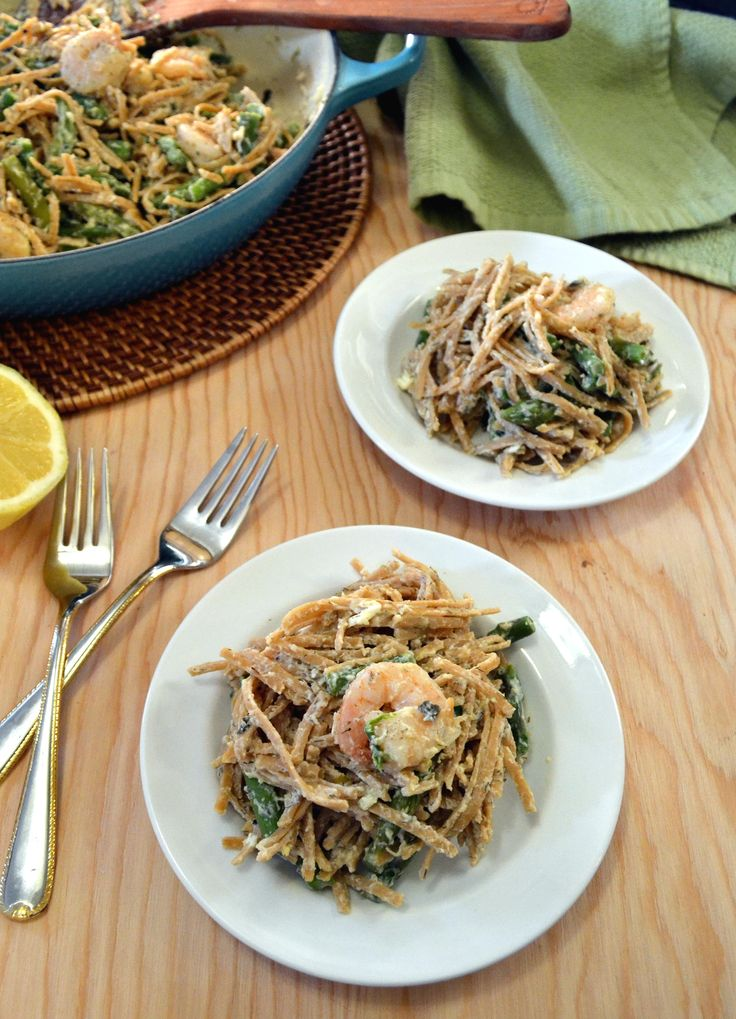 Lemon Asparagus Pasta with Roasted Shrimp. The easy, healthy cream ...