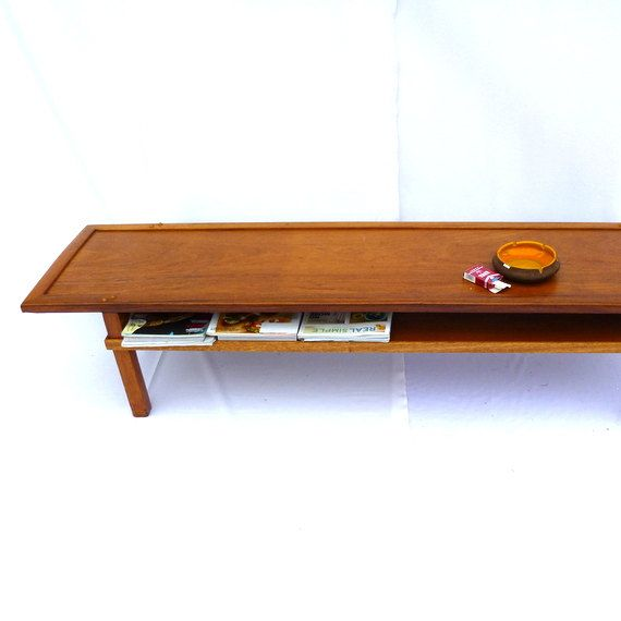 Long narrow danish mod vintage cocktail table Long thin coffee table