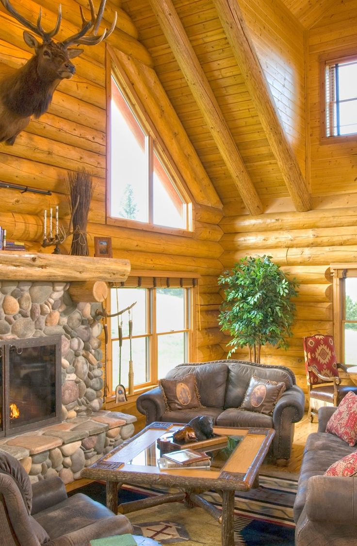 Log cabin fireplace cabins pinterest - Houses with fireplaces ...