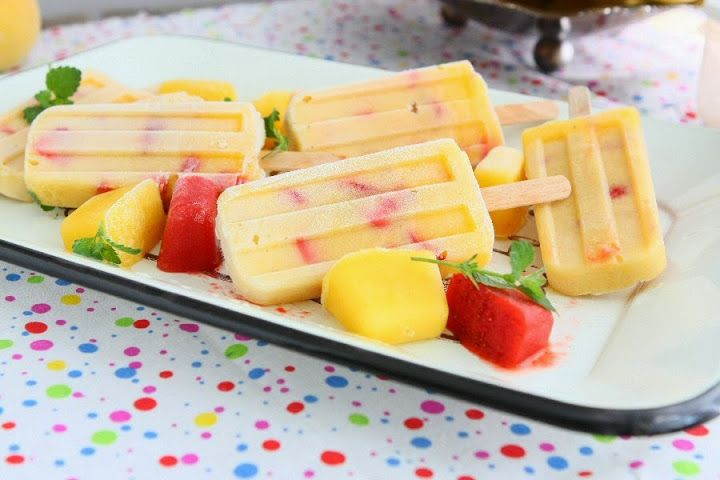 peach strawberry popsicles | forget all about carbs | Pinterest