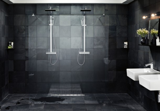 Mooie Donkere Badkamer Mozaiek Com Badkamer Bathroom Salle De Bain Bano Pinterest