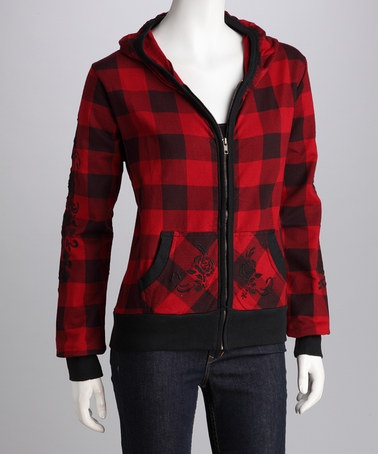 Take a look at this Pink Cattlelac Red & Black Plaid Zip-Up Hoodie by