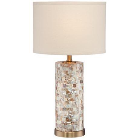 margaret mother of pearl tile cylinder table lamp. Black Bedroom Furniture Sets. Home Design Ideas