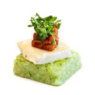 Basil Pesto Risotto Cake, Tasmanian Brie, Dried Tomato Salsa & rocket ...
