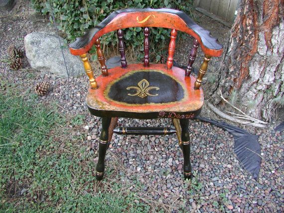 Hand painted vintage captains wood chair by studiodearie on etsy 325