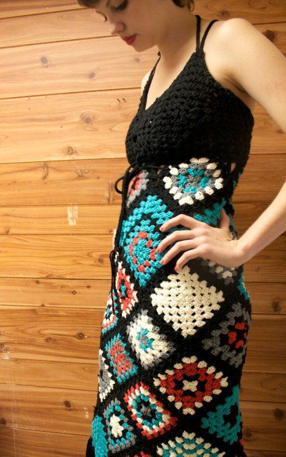 crochet dress granny squares