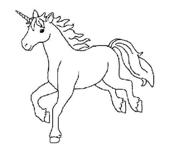 Unicorn Running Coloring Page For Kids