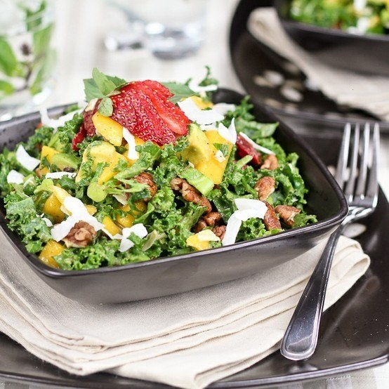 Kale salad with a tropical twist | Foods I Want to Make | Pinterest