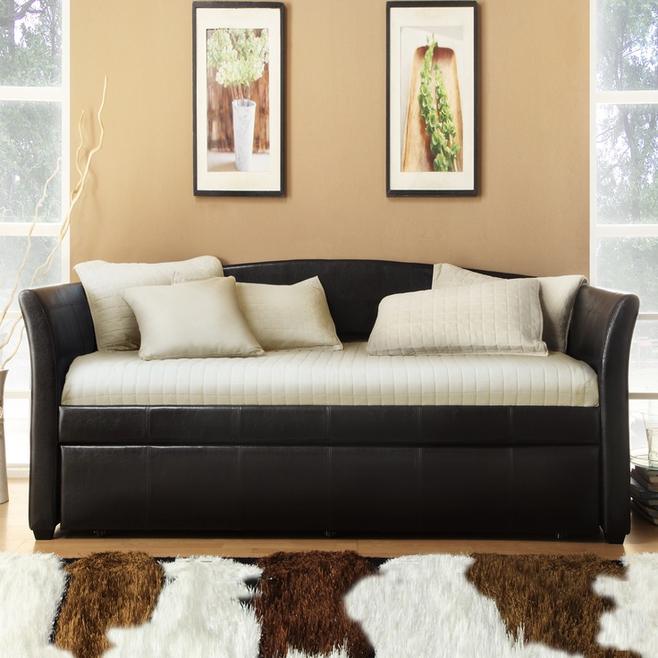 Overstock Daybeds With Trundle : Tribecca home deco dark brown faux leather daybed with trundle