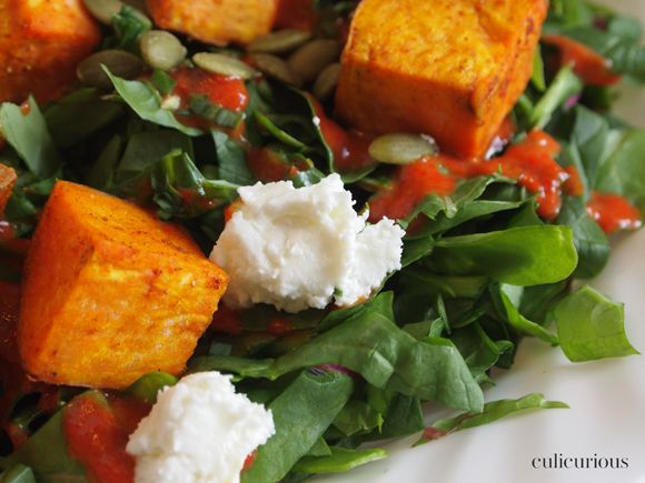 Sweet Potato Salad with Goat Cheese, Pepitas, Green Onion and Roasted ...