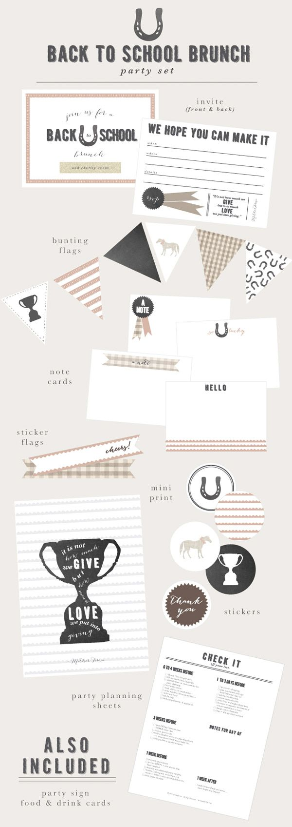 free printables: horse-themed back-to-school brunch...but most items are general enough for any horse/cowboy party (AR Mommy + Jones Design Co.}