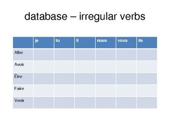 Database of irregular French verbs - gets students to create their own ...