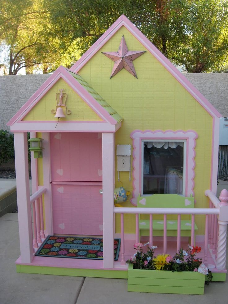 Girls playhouse so cute for melanie pinterest for Outdoor playhouse designs