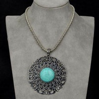Vintage Nature Turquoise Floral Fancy Tibet Silver Pendant Necklace  Order no.: LINLITBB1171K    Quality: AAA+++  Item Condition: 100% Brand New  Craftsmanship: Superb  Color: See Picture  Material: Metal, turquoise  Approximate Size: length of chain; From 460mm/18.07inches to 540mm/21.22inches                   Length of pendant; 75/2.95inches  Quantity: 1    Old price $10.99  $6.99