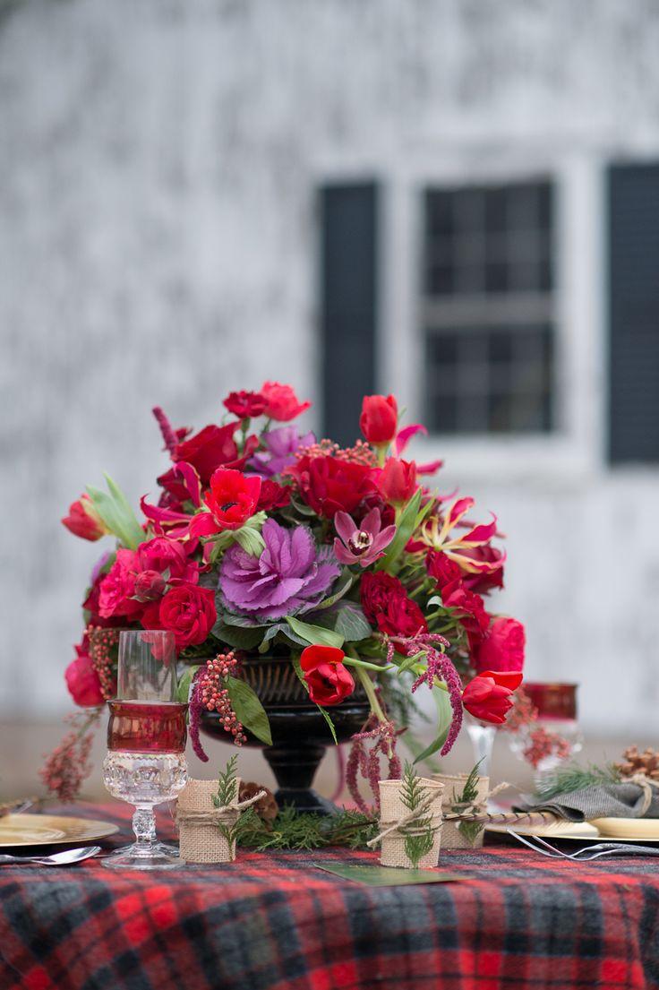 Red winter wedding centerpieces jewel toned centerpiece